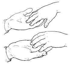 فتح راحة اليد ووضعها تحت يد الكفيف لنشعره بالإصغاء والإهتمام